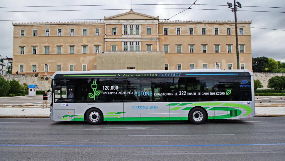 Το πρώτο δρομολόγιο ηλεκτρικού λεωφορείου με επιβάτες στην Αθήνα (φωτο)