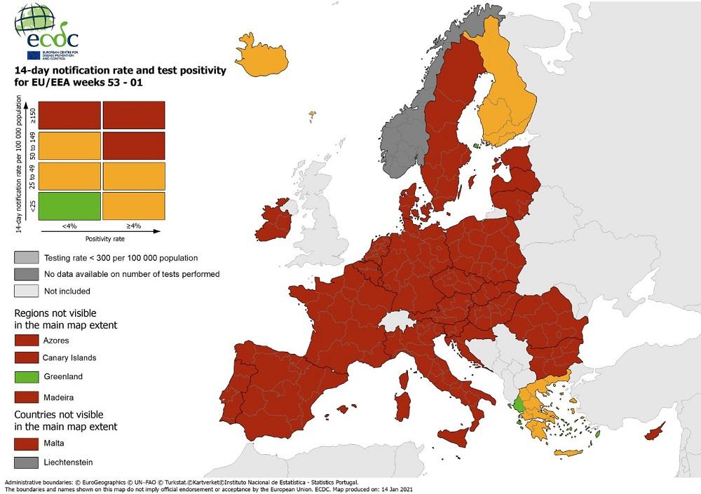 Ο χάρτης ECDC για τον κορωνοϊό στην Ευρώπη: Στην Ελλάδα οι μόνες πράσινες περιοχές